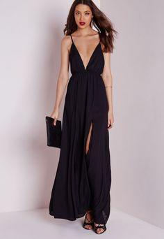 Chiffon Plunge Maxi Dress Black - Dresses - Maxi Dresses - Missguided