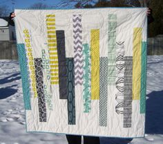 Modern quilt!  Lovely! I love the quilted circles with the rectangle pieced top