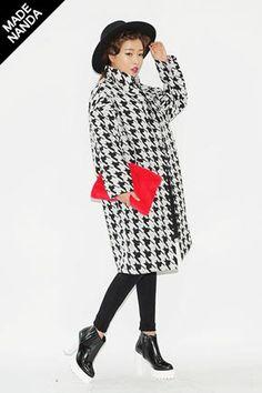 Houndstooth Patterned Boxy Coat