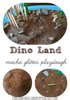 Dino Land with mocha glitter playdough - FSPDT Indoor Activities For Kids, Sensory Activities, Sensory Bins, Sensory Play, Dinosaurs For Toddlers, Happy Birthday To Ya, Glitter Playdough, Dinosaur Party, Dinosaur Food
