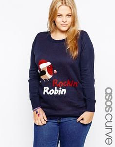 ASOS CURVE Exclusive Christmas Jumper With Rockin Robin