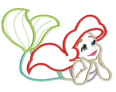 Machine Embroidery Applique  Design Princess Mermaid 5x7, 6x10, 7x11  Hoop Instant Download