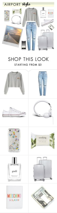"""airport style"" by disyoongi ❤ liked on Polyvore featuring Polaroid, Converse, Urbanears, Rebecca Minkoff, Forever 21, philosophy, CalPak, Moschino and Kenneth Cole"