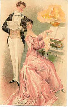 """"""" Their Love Song """" Karodens Vintage Post Cards."""