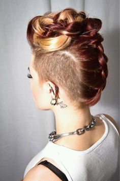 Glam up the edgy way with a braided mohawk hairstyle! See how you can rock mohawk braids with shaved sides, chignons, and very many more! Love Hair, Great Hair, Gorgeous Hair, Awesome Hair, Undercut Hairstyles, Pretty Hairstyles, Wedding Hairstyles, Shaved Hairstyles, Undercut Styles