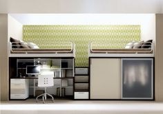 Fantastically Functional Bedroom Layout Ideas for Small Room: Superb White And Green Wall Decor Ideas For Small Kids Bedrooms With Compact Furniture For Small Space Home Interior Couple Bunk Beds Combine Study Desk Mini Stair Decorations ~ promwardrobe.com Bedroom Inspiration