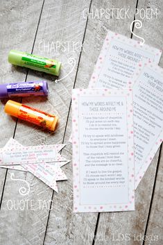 Chapstick Poem Handout: How Do the Things I Say Affect Others - Cupcake Mini Ideen Water Games For Kids, Indoor Activities For Kids, Family Activities, Summer Activities, Outdoor Activities, Safari Party, Yw Handouts, Lds Young Women Handouts, Secret Sister Gifts