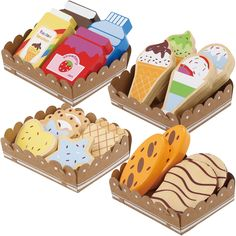Bee Smart - Wooden Pretend Play Food - Toy Food with Sturdy Cardboard Serving Trays Wooden Toy Shop, Wooden Play Food, Wooden Diy, Toddler Christmas Gifts, Toddler Gifts, Play Food Set, Baby Girl Toys, Cute Bedroom Ideas, Woodworking Toys