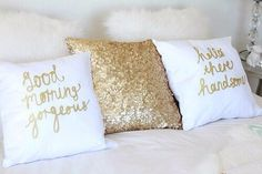 Gold bedroom his and her pillows