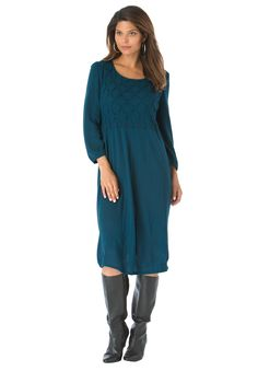 Smocked Sweater Dress - looking for a fall dress that will take you into winter? Look no further! This plus size sweater dress is perfect from work to an event!