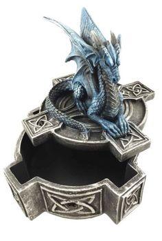 "Celtic Cross Altar Dragon Perching Jewelry Trinket Box Figurine Fantasy 5.5""L"