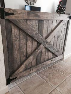 Barn Door Baby Gates with hardware Barn Door Baby Gate, Diy Baby Gate, Baby Gates, Diy Barn Door, Baby Door, Dog Gates, Interior Barn Doors, Interior Exterior, Pallet Gate