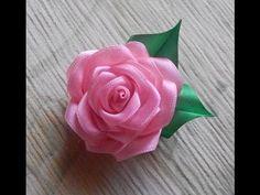 Цветы из ткани. Как сделать розу из атласной ленты.DIY Rose - YouTube