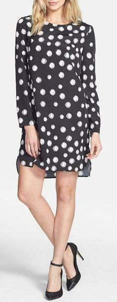 Wayf Long Sleeve Crepe Shift Dress