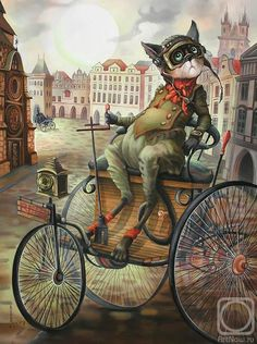''the Big Races'' by Sokolova Nadezhda - ''the Big Races'' Painting - ''the Big Races'' Fine Art Prints and Posters for Sale Cat Painting, Animal Art, Steampunk Cat, Fantasy Art, Cats Illustration, Anthropomorphic, Painting, Illustration Art, Art