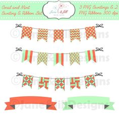 Coral and Mint Bunting and Ribbon PNG Pack 300 dpi - Instant Download Clipart Digital Scrapbook by JaneandJillDesigns on Etsy