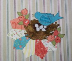 Bluebird Applique PDF Pattern for Tea Towel by quiltdoodledesigns
