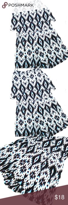 Charlotte Russe Size Small Tribal Blue/White size small womens charlotte Russe romper in a great tribal Aztec graphic print. Great Condition Charlotte Russe Shorts