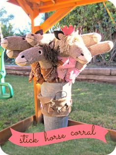stick horses!  they also set up a racing obstacle course with hay bales...homemade by jill: Lilly's Cowgirl Party
