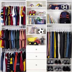 Closet ideas for the simple teenage boy.. A few minor adjustments and possibly add some sheek curtains instead of doors and u have a new closet for (possibly) the new high school boy