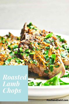 Of all of the Lamb Chop Recipes baked in the oven, this one is my favorite (and so easy)! These lamb chops are roasted for 15 minutes and require just 5 minutes of prep! Make them for date night or even a dinner party! #lambchops #dinnerparty #datenightideas #easymeals #easydinner Easy Lamb Recipes, Lamb Chop Recipes, Easy Dinner Recipes, Easy Meals, Healthy Recipes, Roasted Lamb Chops, Mediterranean Diet Recipes, Chops Recipe, Lunches And Dinners