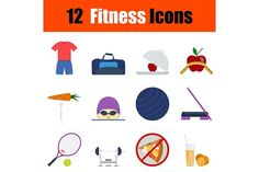 12 fitness flat design icons. Sport Icons. $4.00