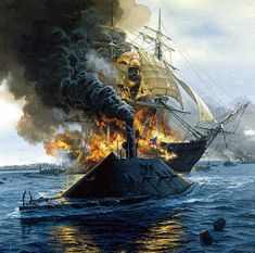 """Civil War Navy ~ """"Congress Burning,"""" by Tom Freeman. The destruction of the frigate """"USS Congress"""" by the ironclad """"CSS Virginia,"""" on March BFD Military Art, Military History, Civil War Art, Us Navy Ships, Confederate States Of America, Naval History, Civil War Photos, Hampton Roads, American Civil War"""