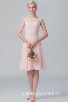 Illusion cap sleeved dusty pink lace and chiffon modest short bridesmaid dress. Illusion lace top with bateau neckline, cap sleeve. Short A-line chiffon skirt bridesmaid dress. Pink Bridesmaid Dresses Short, Affordable Bridesmaid Dresses, Designer Bridesmaid Dresses, Lace Bridesmaid Dresses, Wedding Dresses, Party Dresses, Chiffon Dress, Lace Dress, Lace Chiffon