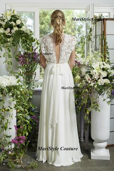 Bohemian Wedding gown from Chiffon French lace by MariStyleCouture