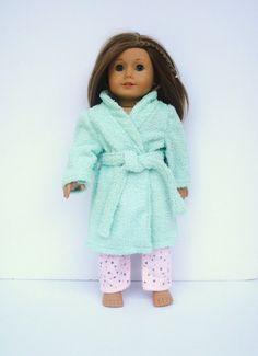 American Girl Doll Clothes, Terry Cloth Bathrobe, Mint Green Robe, Spa Robe, Housecoat fits 18 Inch Dolls