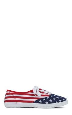 Deb Shops Low Top Sneaker with American Flag Print $10.15