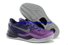 Buy Mens Nike Kobe 8 System Court Purple Pure Platinum-Blackened Blue-Laser Purple For Sale