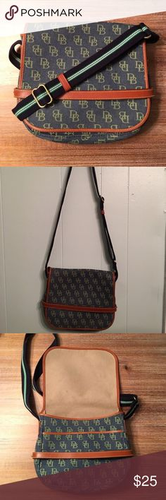 """Dooney & Burke Vintage Crossbody bag Great bag for on the go and special events. Minor wear and some light stains however overall in great shape! The bag is 11"""" tall by 9"""" wide and the strap is adjustable (total length ~51"""". Brass hardware and leather edging. Dooney & Bourke Bags Crossbody Bags"""