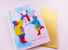 Sisters Building a Snowman Christmas Card by loveofdrawing on Etsy