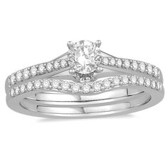 14K White Gold Diamond Wedding set from Oriana Bridal   Rogers Jewelry Co.