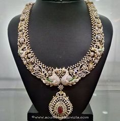 Long diamond haram with peacock design Diamond Necklace Set, Diamond Jewelry, Gold Jewelry, Diamond Choker, Gold Bangles, Statement Jewelry, Jewelry Box, Jewelry Bracelets, Gold Necklace