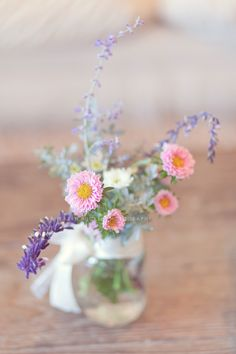 homemade jars of flowers - love these colours