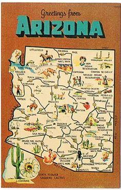 Vintage Arizona Map Postcard by heritagegeneralstore on Etsy