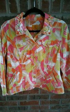 Ruby Rd Tropical Print Jacket Sz 14 Denim Look Beads Buttons #RubyRoad #BasicJacket