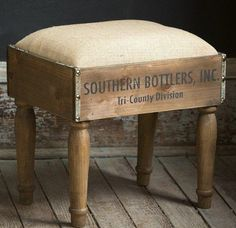 This beautifully crafted vintage inspired foot stool is made from wooden crates. Each wooden foot stool features a soft cushion and a distinctive appearance to add rustic charm to any space! For more visit, Decor Steals. Vintage Industrial Furniture, Refurbished Furniture, Repurposed Furniture, Vintage Home Decor, Rustic Furniture, Diy Home Decor, Rustic Industrial, Modern Furniture, Antique Furniture