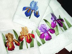 Linen Guest Towels - Anali - Spring Blooms Collection - Blue, Gold or Purple Iris