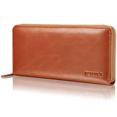 "KAVAJ Leather wallet ""Vienna"" cognac brown- genuine leather wallet for women"