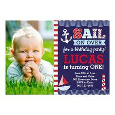Sail Away Boy's Nautical Birthday 5x7 Paper Invitation Card