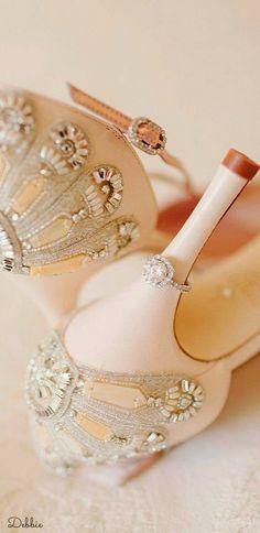 1674b095f9e Francesca - Bridal Shoe - Blush Leather - High Heel - Sandal - Mother of  Peal Trim