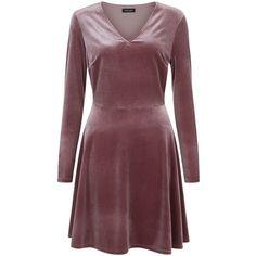 Mid Pink Velvet V Neck Long Sleeve Skater Dress ($34) ❤ liked on Polyvore featuring dresses, v-neck skater dresses, red skater dress, red v neck dress, skater dress and velvet dress