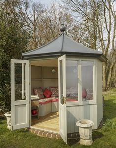 Octagonal Summerhouse by Garden Affairs, painted.