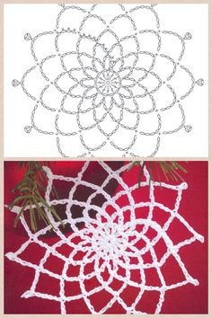 Crochet snowflake ornament pattern.  put in center of flower or behind for lacy…
