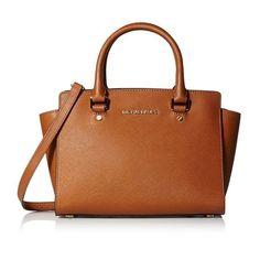 8fbd1b7576c7ee Michael Kors Selma Medium Top Zip Satchel Handbag #michaelkorsbrownhandbag  Brown Leather Satchel, Leather Satchel