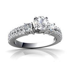 White Topaz Engagement 14K White Gold Ring R26435RD - front view