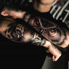 Bird Tattoos For Women, Girls With Sleeve Tattoos, Best Sleeve Tattoos, Arm Tattoos For Guys, Tiger Eyes Tattoo, Owl Eye Tattoo, Tattoo Ink, Red Tattoos, Cute Tattoos
